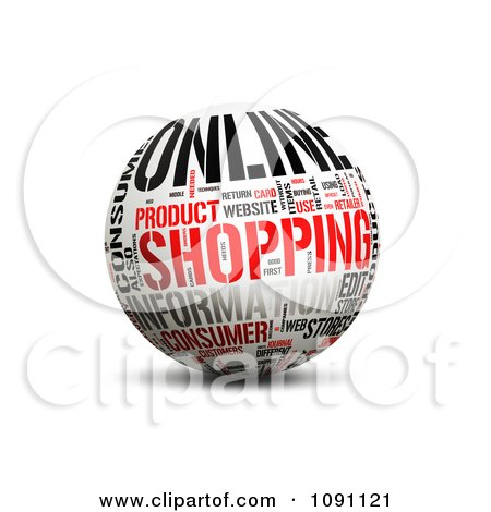 Clipart 3d Online Shopping Word Globe - Royalty Free CGI Illustration by MacX
