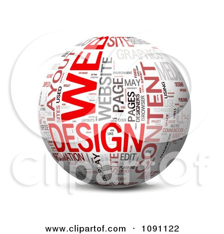 Clipart 3d Web Design Word Globe - Royalty Free CGI Illustration by MacX
