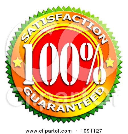 Clipart Green Red And Orange 100 Percent Satisfaction Guaranteed Badge - Royalty Free CGI Illustration by MacX