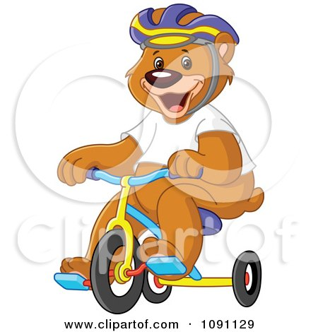 Clipart Bear Wearing A Helmet And Riding A Tricycle - Royalty Free Vector Illustration by yayayoyo