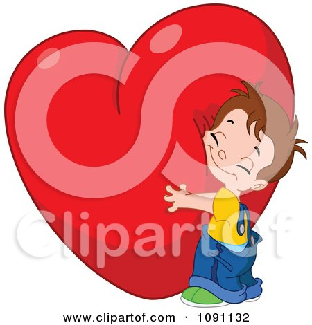 Clipart Cute Boy Hugging A Big Red Heart - Royalty Free Vector Illustration by yayayoyo