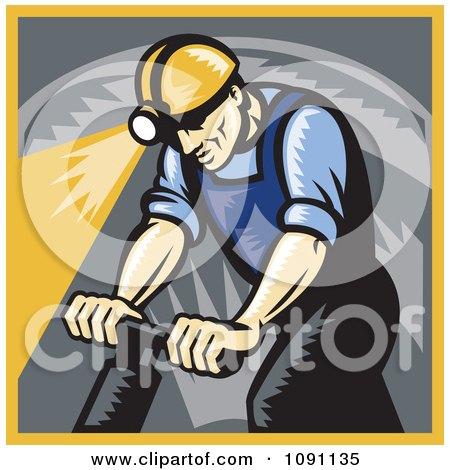 Clipart Retro Coal Miner Drilling - Royalty Free Vector Illustration by patrimonio
