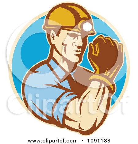 Clipart Retro Strong Male Miner - Royalty Free Vector Illustration by patrimonio