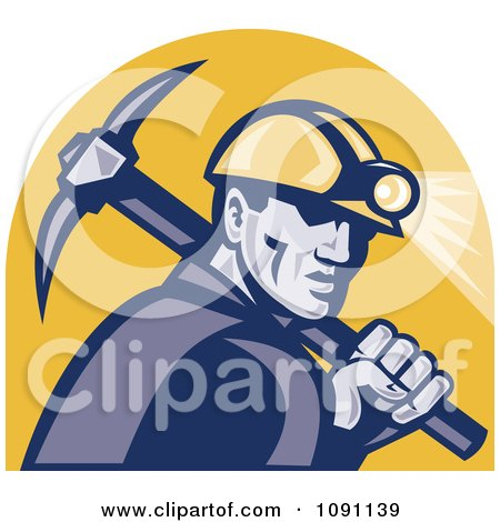 Clipart Retro Miner With A Pickaxe And Head Lamp - Royalty Free Vector Illustration by patrimonio
