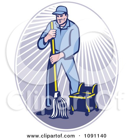 Clipart Retro Janitor Using A Mop In A Ray Oval - Royalty Free Vector Illustration by patrimonio