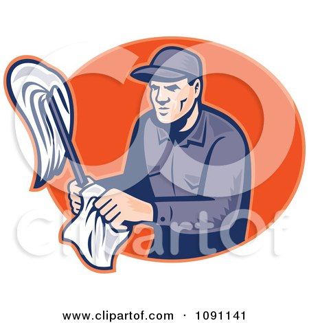 Clipart Retro Janitor Holding A Mop And Cloth Over An Orange Oval - Royalty Free Vector Illustration by patrimonio