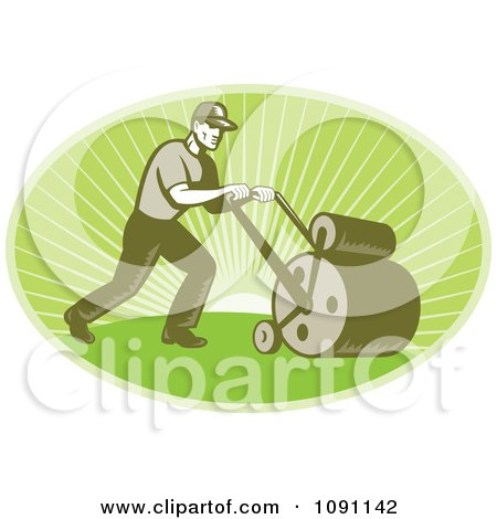 Clipart Retro Landscaper Oval Using A Lawn Roller - Royalty Free Vector Illustration by patrimonio