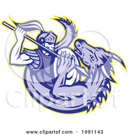 Clipart Retro Knight Spearing A Dragon - Royalty Free Vector Illustration by patrimonio