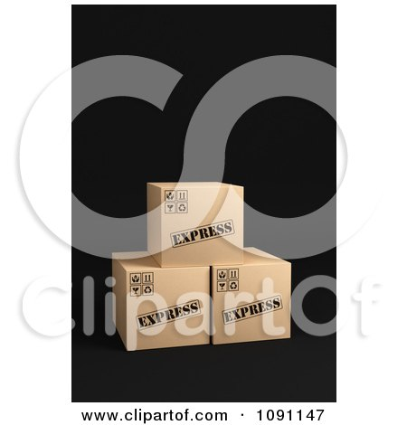 Clipart 3d Cardboard Express Shipping Parcel Boxes - Royalty Free CGI Illustration by stockillustrations