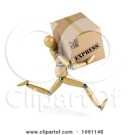 Clipart 3d Wooden Manequin Running With An Express Shipping Box - Royalty Free CGI Illustration by stockillustrations