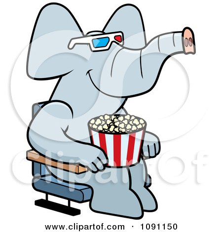 Clipart Elephant Eating Popcorn And Watching A 3d Movie At The Theater - Royalty Free Vector Illustration by Cory Thoman