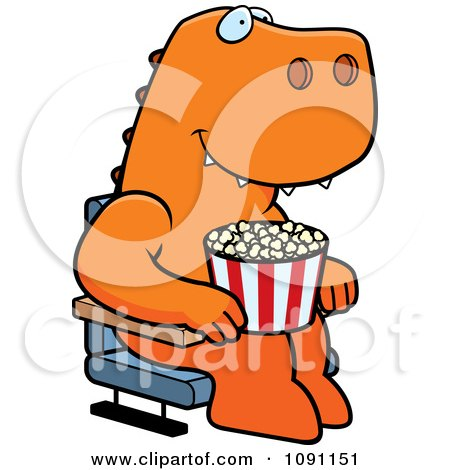Clipart Happy T Rex With Popcorn At The Movie Theater - Royalty Free Vector Illustration by Cory Thoman