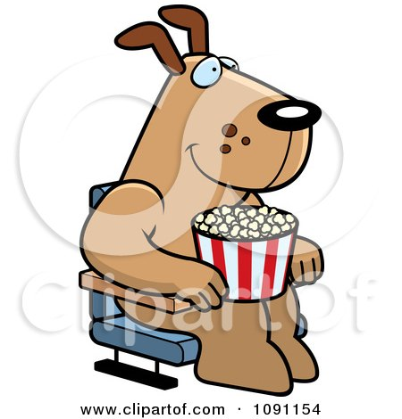Clipart Happy Dog With Popcorn At The Movie Theater - Royalty Free Vector Illustration by Cory Thoman