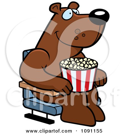 Clipart Happy Bear With Popcorn At The Movie Theater - Royalty Free Vector Illustration by Cory Thoman