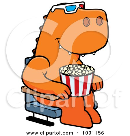 Clipart T Rex Eating Popcorn And Watching A 3d Movie At The Theater - Royalty Free Vector Illustration by Cory Thoman