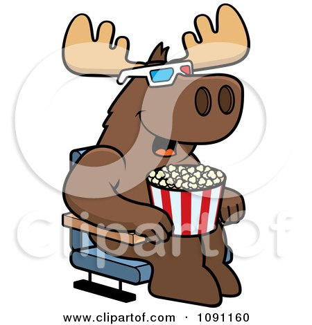 Clipart Moose Eating Popcorn And Watching A 3d Movie At The Theater - Royalty Free Vector Illustration by Cory Thoman
