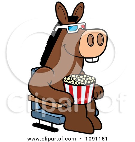 Clipart Donkey Eating Popcorn And Watching A 3d Movie At The Theater - Royalty Free Vector Illustration by Cory Thoman