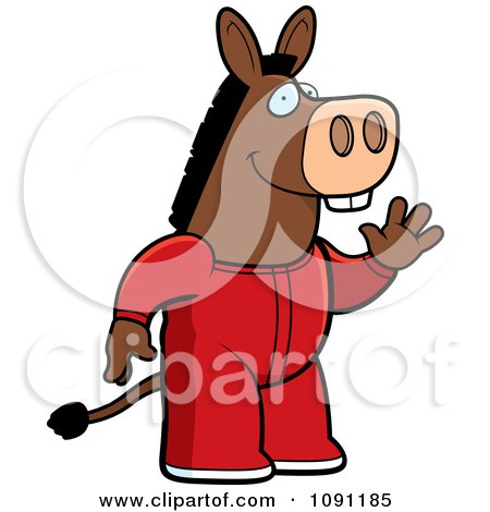 Clipart Waving Donkey In Footie Pajamas - Royalty Free Vector Illustration by Cory Thoman