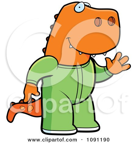 Clipart Waving T Rex In Footie Pajamas - Royalty Free Vector Illustration by Cory Thoman