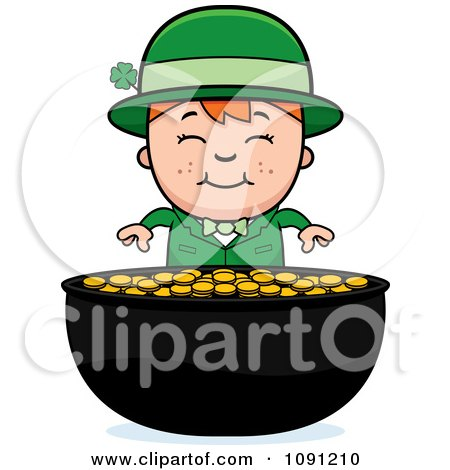 Clipart Child Leprechaun Boy And Pot Of Gold - Royalty Free Vector Illustration by Cory Thoman
