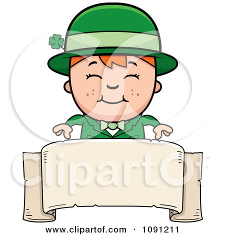 Clipart Happy Child Leprechaun Boy Over A Banner - Royalty Free Vector Illustration by Cory Thoman