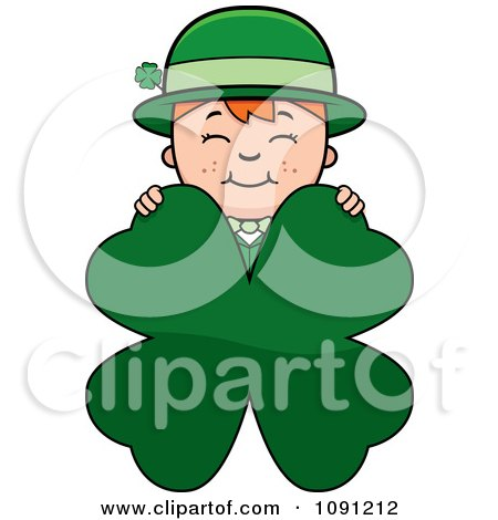Clipart Child Leprechaun Boy Behind A Four Leaf Clover - Royalty Free Vector Illustration by Cory Thoman