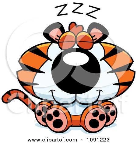 Clipart Cute Sleeping Tiger - Royalty Free Vector Illustration by Cory Thoman