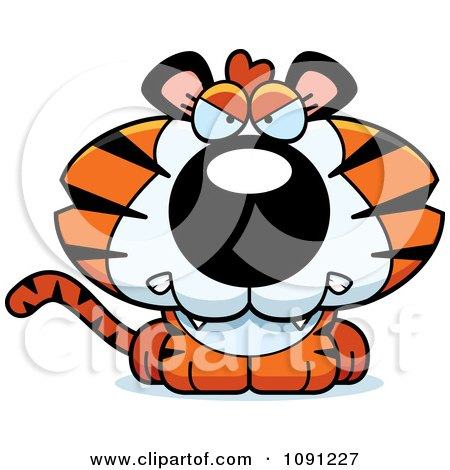 Clipart Cute Mad Tiger - Royalty Free Vector Illustration by Cory Thoman