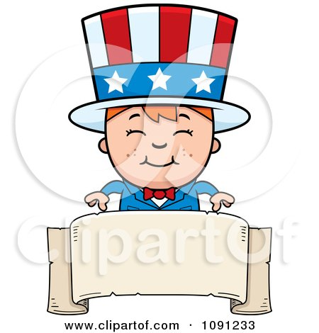 Clipart Happy Uncle Sam Boy Over A Blank Banner - Royalty Free Vector Illustration by Cory Thoman