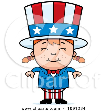 Clipart Happy Uncle Sam Girl - Royalty Free Vector Illustration by Cory Thoman