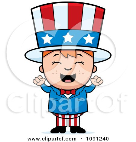 Clipart Happy Uncle Sam Boy Cheering - Royalty Free Vector Illustration by Cory Thoman