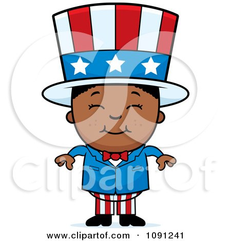 Clipart Happy Black Uncle Sam Boy - Royalty Free Vector Illustration by Cory Thoman