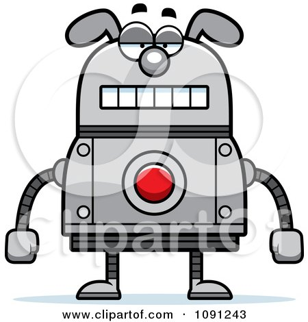 Clipart Bored Dog Robot - Royalty Free Vector Illustration by Cory Thoman