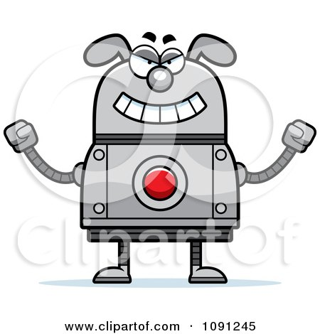 Clipart Evil Dog Robot - Royalty Free Vector Illustration by Cory Thoman
