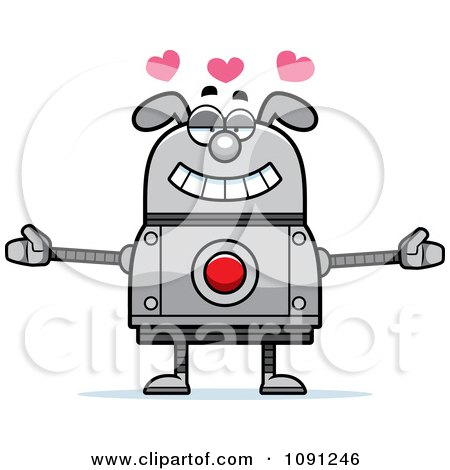 Clipart Loving Dog Robot - Royalty Free Vector Illustration by Cory Thoman