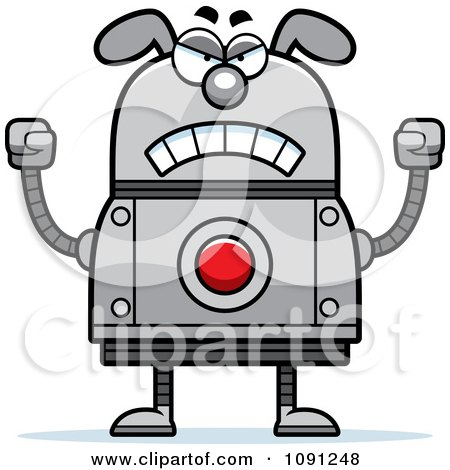 Clipart Mad Dog Robot - Royalty Free Vector Illustration by Cory Thoman