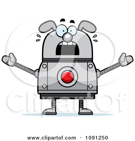 Clipart Scared Dog Robot - Royalty Free Vector Illustration by Cory Thoman