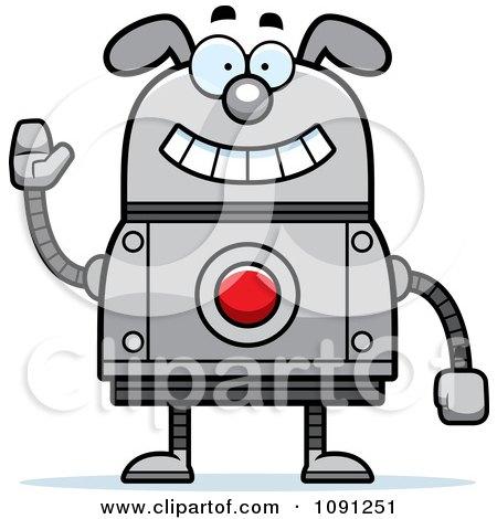 Clipart Waving Dog Robot - Royalty Free Vector Illustration by Cory Thoman