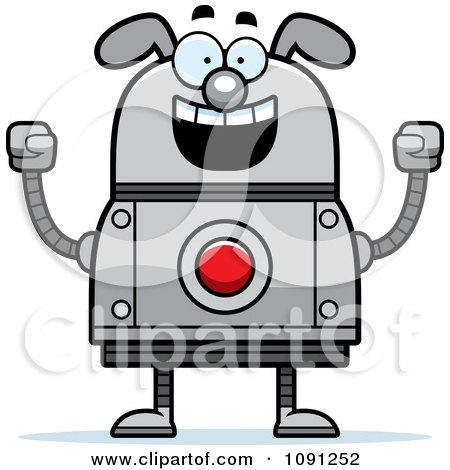 Clipart Excited Dog Robot - Royalty Free Vector Illustration by Cory Thoman