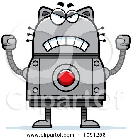 Clipart Mad Robot Cat - Royalty Free Vector Illustration by Cory Thoman