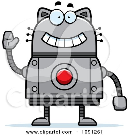 Clipart Waving Robot Cat - Royalty Free Vector Illustration by Cory Thoman