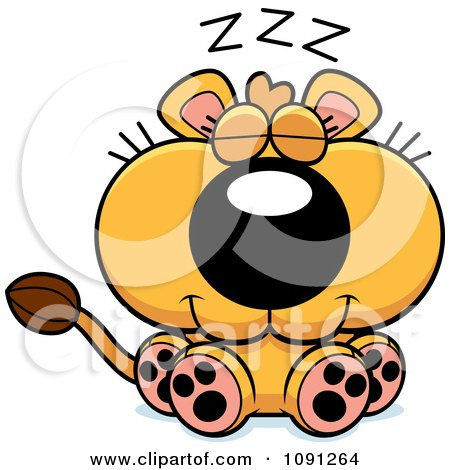 Clipart Cute Sleeping Lioness - Royalty Free Vector Illustration by Cory Thoman