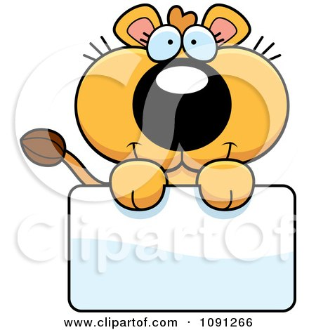 Clipart Cute Lioness Holding A Sign - Royalty Free Vector Illustration by Cory Thoman