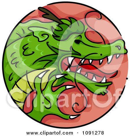 Clipart Year Of The Dragon Chinese Zodiac Circle - Royalty Free Vector Illustration by BNP Design Studio