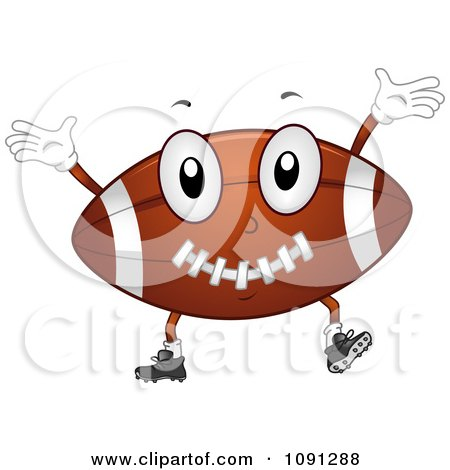 Clipart Football Character Cheering - Royalty Free Vector Illustration by BNP Design Studio