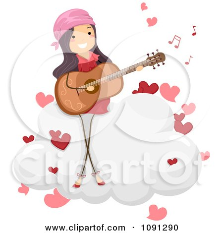 Clipart Girl Singing A Love Song And Playing A Guitar On A Cloud - Royalty Free Vector Illustration by BNP Design Studio