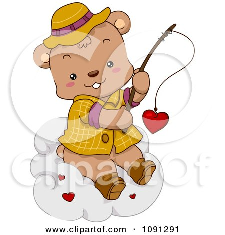 Clipart Fishing Bear Reeling In A Valentine Heart On A Cloud - Royalty Free Vector Illustration by BNP Design Studio