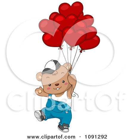 Clipart Boy Bear Floating With Valentine Balloons - Royalty Free Vector Illustration by BNP Design Studio