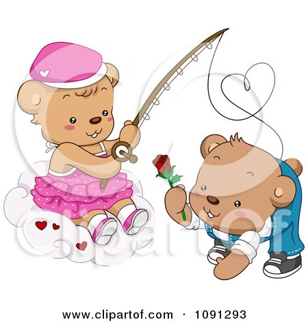 Clipart Girl Teddy Bear Reeling In A Boy With A Rose - Royalty Free Vector Illustration by BNP Design Studio