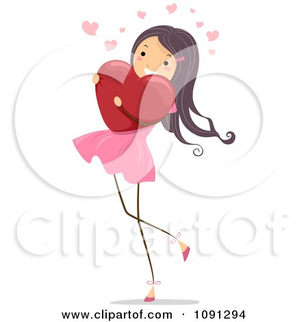 Clipart Girl Walking And Hugging A Red Heart - Royalty Free Vector Illustration by BNP Design Studio